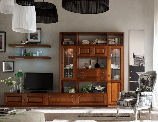 Parete soggiorno in legno asolana perosino arredamenti - Mobili sala mondo convenienza ...